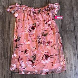 NWT Off The Shoulder Mesh Dress w/Velvet Flowers